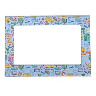 Collage de las fuentes de escuela en azul marcos magneticos de fotos