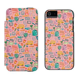 Collage de las fuentes de escuela en rosa funda billetera para iPhone 5 watson