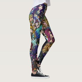 Collage de las hadas de la sirena del arte de la leggings