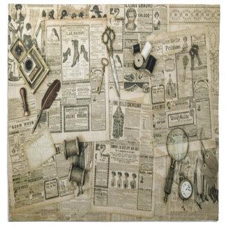 Collage de las noticias del vintage, rústico, servilletas de papel
