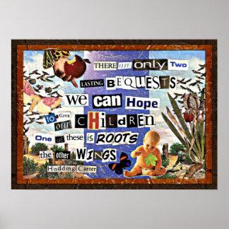 Collage de las raíces y de las alas póster