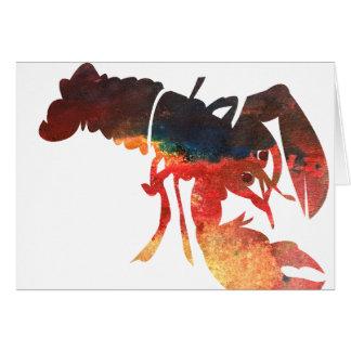 Collage de las técnicas mixtas de la langosta tarjeta de felicitación