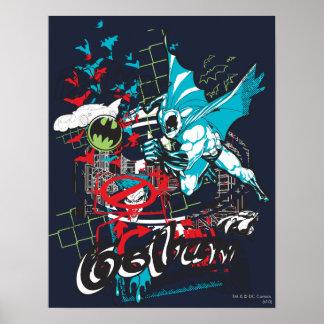 Collage de Lineart del guarda de Batman Gotham Poster