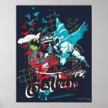 Collage de Lineart del guarda de Batman Gotham Póster