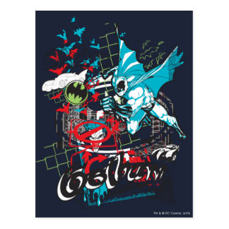 Collage de Lineart del guarda de Batman Gotham Tarjetas Postales