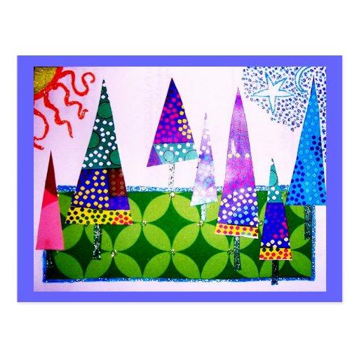 Collage de los árboles, buenas fiestas postal