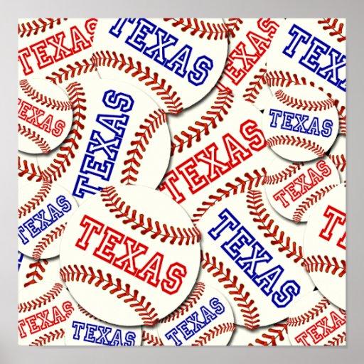 Collage de los béisboles de Tejas Impresiones