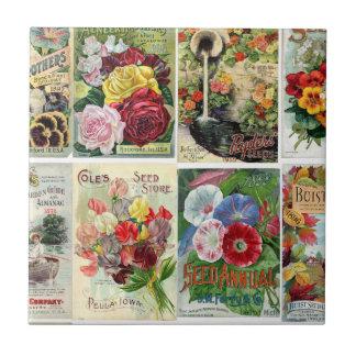 Collage de los catálogos de semilla de flor del azulejo cerámica