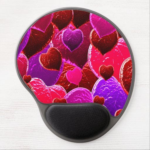 Collage de los corazones de la tarjeta del día de  alfombrilla de raton con gel