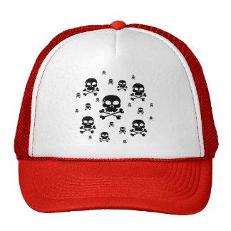 Collage de los cráneos del dibujo animado - negro gorras de camionero