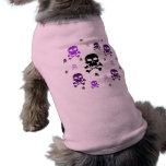 Collage de los cráneos del dibujo animado - púrpur camisetas de perrito