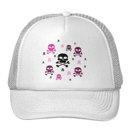 Collage de los cráneos del dibujo animado - rosa gorra