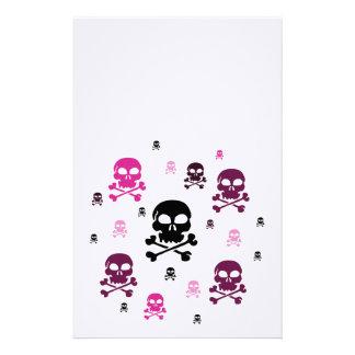 Collage de los cráneos del dibujo animado - rosa papelería
