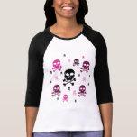 Collage de los cráneos del dibujo animado - rosa camiseta