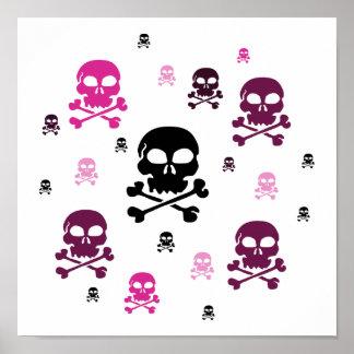 Collage de los cráneos del dibujo animado - rosa póster
