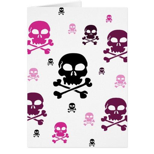 Collage de los cráneos del dibujo animado - rosa felicitación