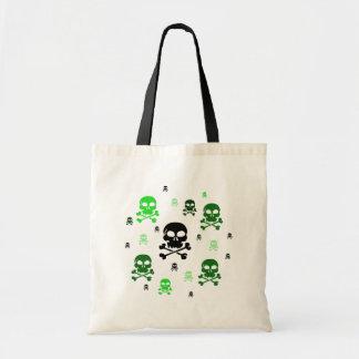 Collage de los cráneos del dibujo animado - verde bolsa tela barata