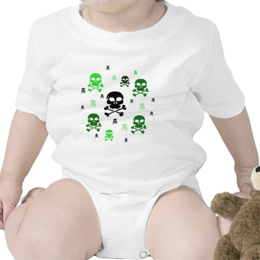 Collage de los cráneos del dibujo animado - verde trajes de bebé