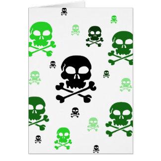 Collage de los cráneos del dibujo animado - verde tarjeta de felicitación