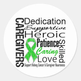 Collage de los cuidadores del cáncer del riñón pegatina redonda