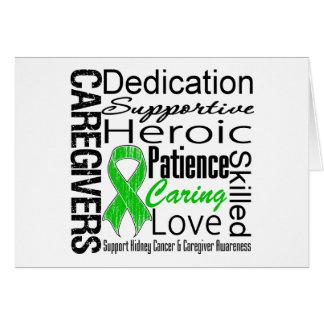 Collage de los cuidadores del cáncer del riñón tarjeta de felicitación