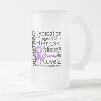 Collage de los cuidadores del cáncer pancreático taza de cristal