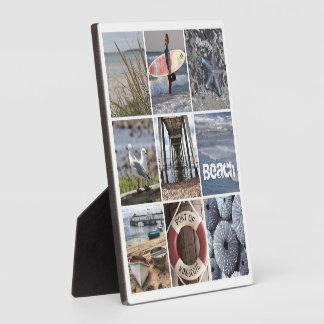 Collage de los días de la playa placas de madera