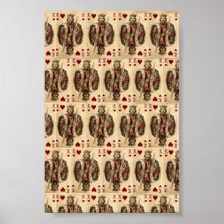 Collage de los naipes de rey Hearts del vintage Impresiones