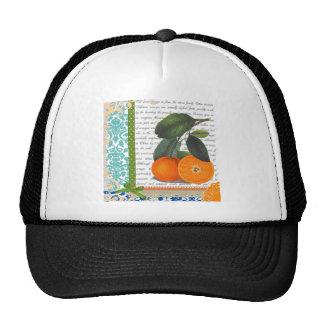 Collage de los naranjas del vintage gorra