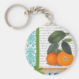 Collage de los naranjas del vintage llaveros