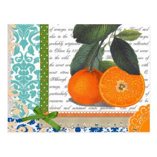 Collage de los naranjas del vintage postales