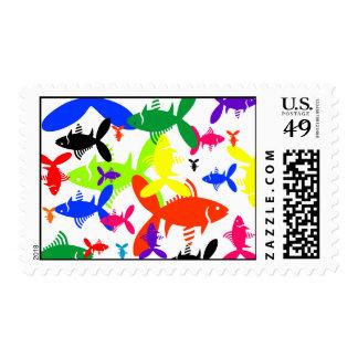 Collage de los pescados de arco iris timbres postales