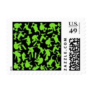 Collage de los skateres timbre postal