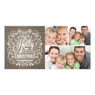 Collage de madera rústico de la foto del navidad tarjetas fotograficas personalizadas