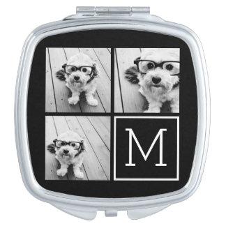 Collage de moda blanco y negro de la foto con el espejo de maquillaje