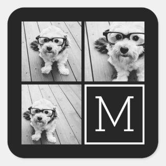 Collage de moda blanco y negro de la foto con el pegatina cuadrada