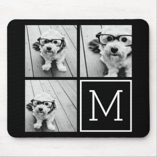 Collage de moda blanco y negro de la foto con el tapete de ratones