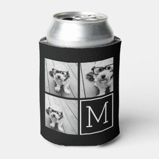 Collage de moda blanco y negro de la foto con el enfriador de latas