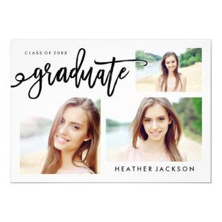 """Collage de moda de 3 fotos del graduado 2016 invitación 5"""" x 7"""""""