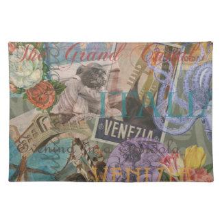 Collage de moda del viaje de Italia del vintage de Manteles