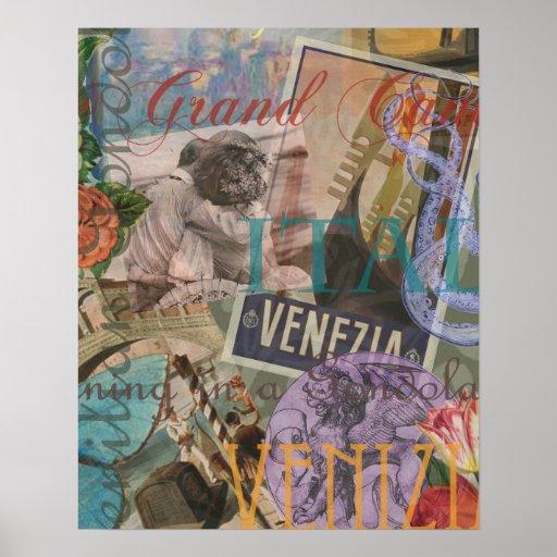 Collage de moda del viaje de Italia del vintage de Poster