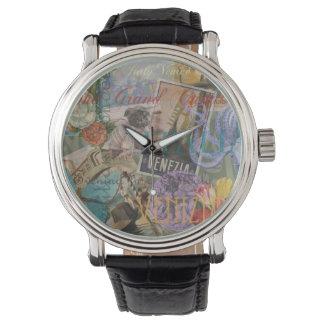 Collage de moda del viaje de Italia del vintage de Reloj De Mano