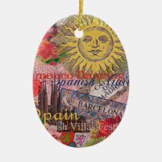 Collage de moda del viaje del español del vintage adorno navideño ovalado de cerámica