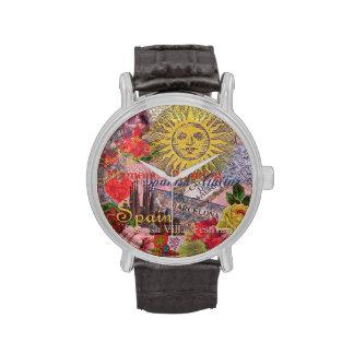 Collage de moda del viaje del español del vintage relojes
