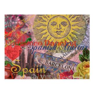 Collage de moda del viaje del español del vintage tarjetas postales