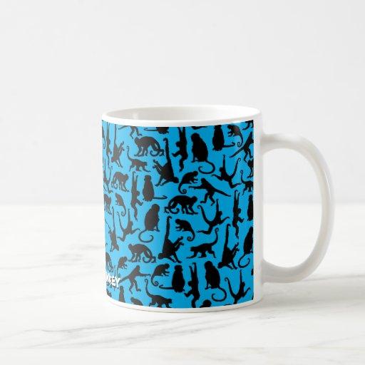 Collage de Munkey en azul en la taza de café
