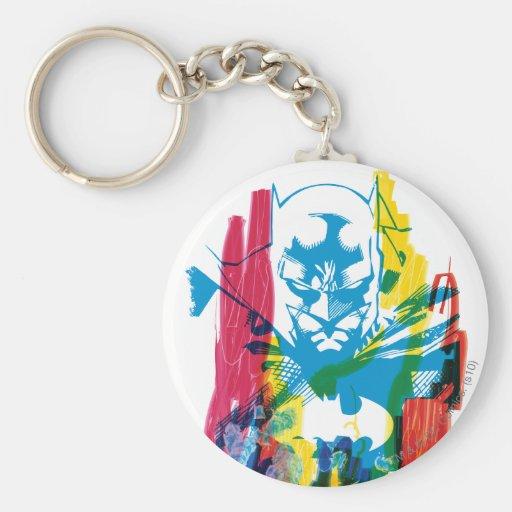 Collage de neón del marcador de Batman Llavero Redondo Tipo Pin