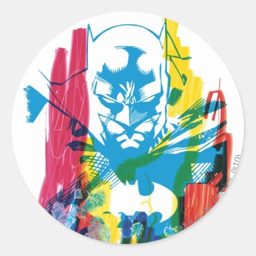 Collage de neón del marcador de Batman Pegatina Redonda