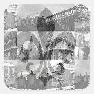 Collage de New Orleans [pegatinas cuadrados] Calcomanías Cuadradass Personalizadas