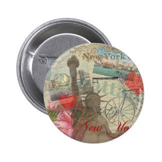 Collage de New York City del vintage Pin Redondo De 2 Pulgadas